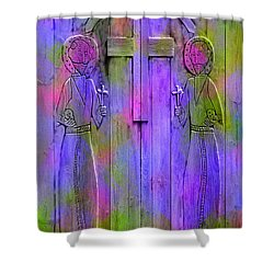 Los Santos Cuates - The Twin Saints Shower Curtain by Kurt Van Wagner