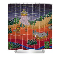 Lost Creek Lodge With Sun Temple Shower Curtain