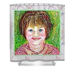 Shower Curtain featuring the pastel Lost In Childhood by Desline Vitto