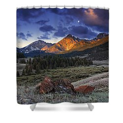 Shower Curtain featuring the photograph Lost River Mountains Moon by Leland D Howard