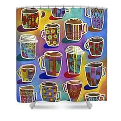 Shower Curtain featuring the painting Lots Of Lattes by Carla Bank
