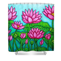 Lotus Bliss II Shower Curtain by Lisa  Lorenz