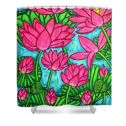 Lotus Bliss Shower Curtain by Lisa  Lorenz