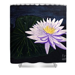 Shower Curtain featuring the painting Lotus Blossom At Night by Patricia Griffin Brett