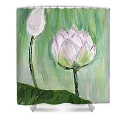 Shower Curtain featuring the painting Lotus Emerging by Maria Langgle
