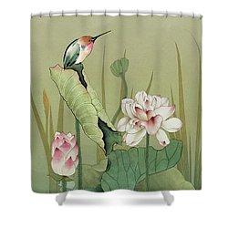 Lotus Flower And Hummingbird Shower Curtain