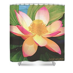 Shower Curtain featuring the painting Lotus Flower by Sophia Schmierer