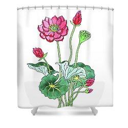 Lotus Flower Watercolor Shower Curtain