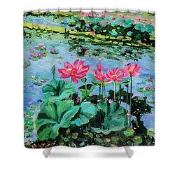 Lotus Shower Curtain by Alexandra Maria Ethlyn Cheshire