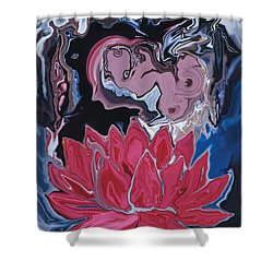 Shower Curtain featuring the digital art Lotus Love by Rabi Khan