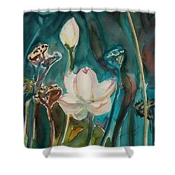 Shower Curtain featuring the painting Lotus Study I by Xueling Zou