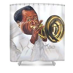 Louis Armstrong Shower Curtain by Emmanuel Baliyanga