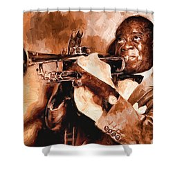Louis Armstrong Shower Curtain by Louis Ferreira