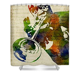 Louis Armstrong Watercolor Shower Curtain