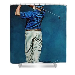 Louis Osthuizen Open Champion 2010 Shower Curtain by Mark Robinson
