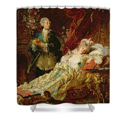 Louis Xv And Madame Dubarry Shower Curtain by  Gyula Benczur