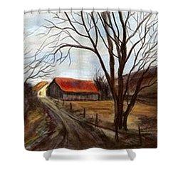 Shower Curtain featuring the painting Louisa Kentucky Barn by Gail Kirtz
