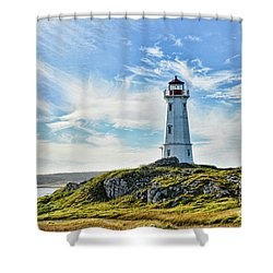 Louisbourg Nova Scotia  Lighthouse Shower Curtain