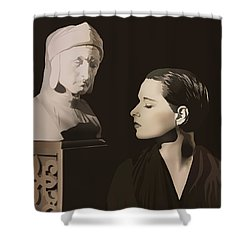 Louise Brooks With Bust Of Dante Alighieri  Shower Curtain by Vintage Brooks