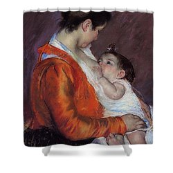 Louise Nursing Her Child Shower Curtain by Marry Cassatt