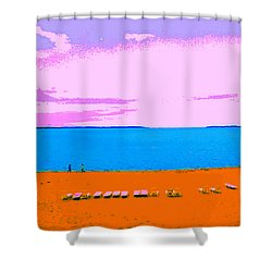 Lounge Chairs On The Beach Shower Curtain