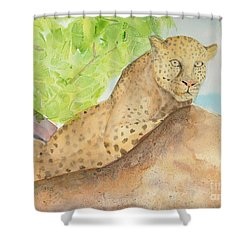 Shower Curtain featuring the painting Lounging Leopard by Vicki  Housel