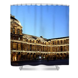 Shower Curtain featuring the photograph Louvre At Night 1 by Andrew Fare