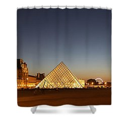Shower Curtain featuring the photograph Louvre At Night 2 by Andrew Fare