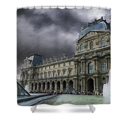 Shower Curtain featuring the mixed media Louvre by Jim  Hatch