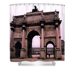 Shower Curtain featuring the photograph Louvre Museum Entrance Courtyard Arc De Triomphe Arch Landmark - Paris Louvre Museum Architecture by Kathy Fornal