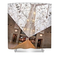 Shower Curtain featuring the photograph Louvre Pyramid by Silvia Bruno