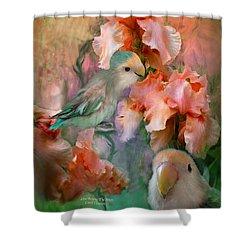 Love Among The Irises Shower Curtain by Carol Cavalaris