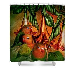 Love Among The Trumpets Shower Curtain by Carol Cavalaris