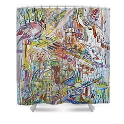 Love And Music Shower Curtain by Rita Fetisov