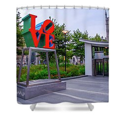 Shower Curtain featuring the photograph Love At Dilworth Plaza - Philadelphia by Bill Cannon