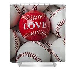 Love Baseball Shower Curtain by Garry Gay