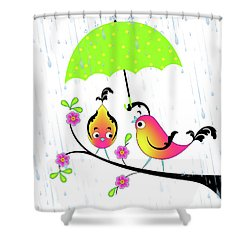 Love Birds In Rain Shower Curtain