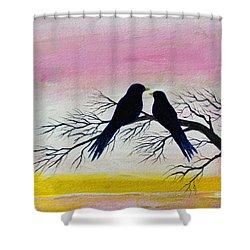 Shower Curtain featuring the painting Love Birds by Jack G  Brauer