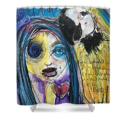 Love Birds Shower Curtain by Laurie Maves ART