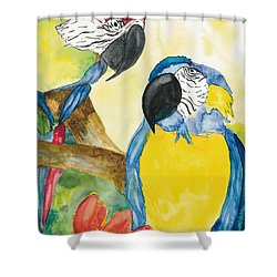 Shower Curtain featuring the painting Love Birds by Vicki  Housel