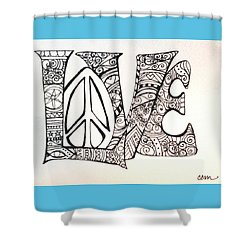 Love Bits Shower Curtain by Claudia Cole Meek