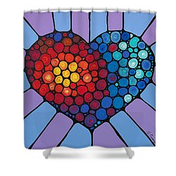 Love Conquers All Shower Curtain by Sharon Cummings