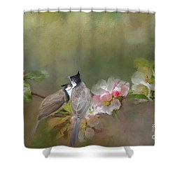 Love Couple Shower Curtain by Eva Lechner