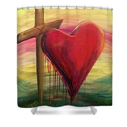 Shower Curtain featuring the painting Love Covers A Multitude by Lisa DuBois