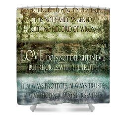 Shower Curtain featuring the digital art Love Does Not Delight In Evil by Angelina Vick