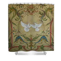 Love Doves Shower Curtain by Jindra Noewi