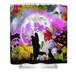 Love Family And Friendship In The Mix Shower Curtain by Catherine Lott