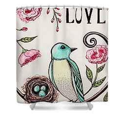 Love Grows Here Shower Curtain by Elizabeth Robinette Tyndall