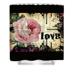 Love Grunge Rose Shower Curtain by Robert G Kernodle