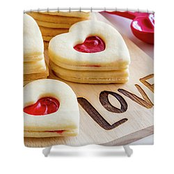 Shower Curtain featuring the photograph Love Heart Cookies by Teri Virbickis